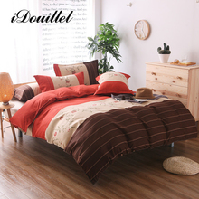 iDouillet Modern Stripes & Floral Pattern Reversible Duvet Cover Set with Pillowcase Single Double Queen King Size Bed Linen