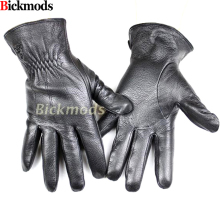 Men's deerskin gloves fashion style striped cashmere lined leather gloves thin autumn and winter cold and warm free shipping(China)