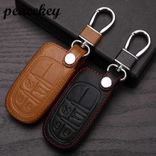 Peacekey Leather Car Keychain Key Case Cover For Fiat fo Jeep Grand Cherokee Compass Patriot Dodge Journey Chrysler 300C Car Key(China)