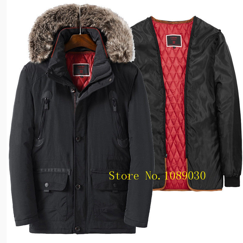High quality fur collar men parka hat & liner detachable AFS JEEP men winter jacket thick snow cotton-padded veste homme hiver