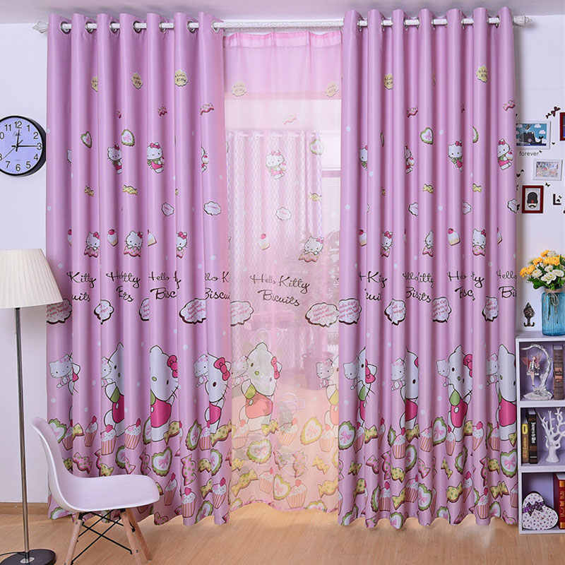 Pink Princess Cartoon Cat Curtains For Living Room Children Blackout Customized Finished Curtains For Baby Girls Bedroom