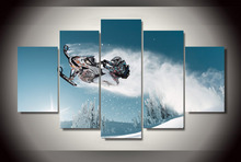 Framed 5Pcs Modular Wall Paintings Ski Doo Freeride Modern Painting on Canvas Pictures For Living Room Cuadros Decor Poster