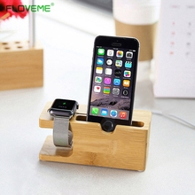 FLOVEME For All Apple Watch 38mm 42mm/For iPhone 6S 7 6 Plus 5 5s SE Stand Wooden Bamboo Charging Dock i Watch Holder