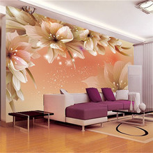 Modern simple TV background wallpaper living room 3d three - dimensional painting canvas wallpaper flowers murals