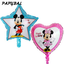 10pcs/lot Mickey Minnie Mouse Foil Balloons Star Heart Helium Globos Ballon Baby Shower Birthday Party Decor Supplies Air Globos(China)