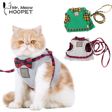 Hoopet Pet Cat Dog Harness Cat Collar Leash Pet Traction Elegant British Style Cute Jacket Leash(China)