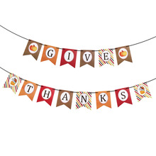 Hot Sales letters of thanks Card Festive Party Hanging Banner Thanksgive Paper Festoon Thanksgiving Decor with Black Silk Ribbon