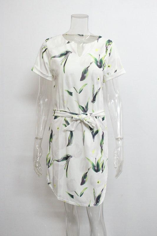 2018 Spring Summer Printed Women Dress O-Neck Hem Side Split Ladies Dresses Tie Sashes Short Sleeve Casual Sexy Female Vestidos 24