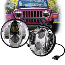 Silver 7'' Round led headlight projector H4 H13 With HI/LO Beam DRL Driving headlamp for Wrangler trucks motorcycle(China)