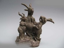 Free shipping China classic Pure Copper Bronze Carved Feng Shui Lucky Three Sheep goat Statue