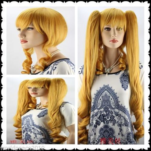MISS 001653 gold short straight cosplay full Wig + two long two ponytails + gift<br><br>Aliexpress
