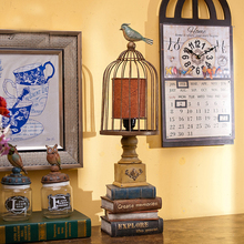 Europe Nordic Brief Decorative Blue Bird Table Lamp Bedroom/Living Room Table Modern Lamps Luxury Birdcage Iron Table Lighting(China)