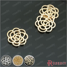 (26802)30PCS 15-16MM Champagne gold Color Plated Alloy Flower Rose Charms Pendants Diy Jewelry Findings Accessories Wholesale