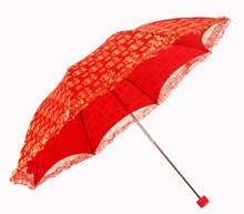 2017 Princess Red Lace Umbrella Wedding Flower Girls Decoration Manual Control  Sunny and Rainy Umbrella Rain Women