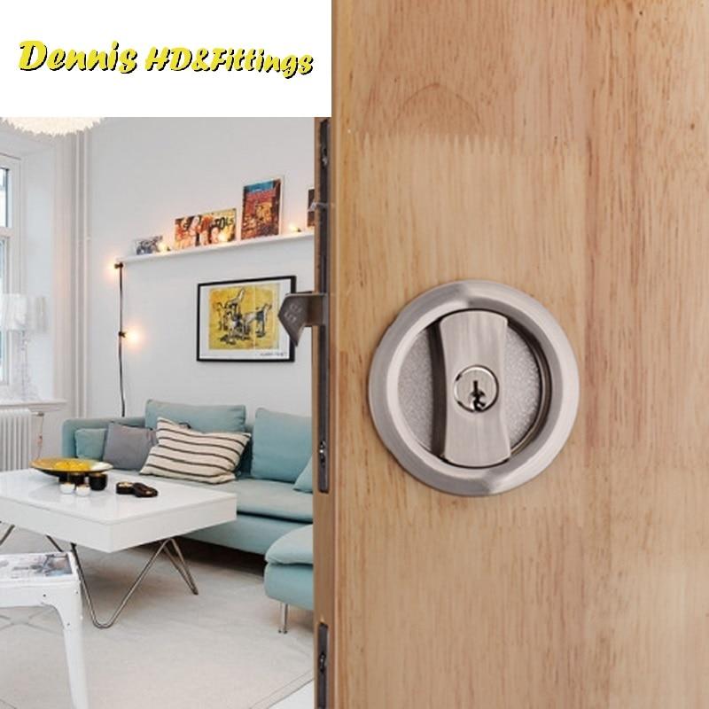Sliding Door Lock set Kit 35-50mm Door Thickness Hook Lock Pocket door Round<br>
