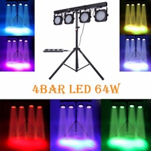 (Ship from USA ) 4 BAR DMX LED WASH RGB PAR 64 STAGE LIGHT KIT SYSTEM LIGHTING + Foot Controller(China)