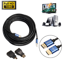 5m/10m/15m Aluminum HDMI Cable + Mini & Micro HDMI Adapter HDMI 1.4 HD 3D Audio Video Converter for Xbox/HDTV/Notebook(China)
