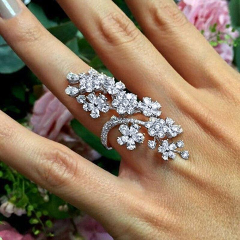 New Hot Fashion Fine Jewelry Retro Luxury Exquisite Rose Rhinestone Crystal Flower Full Rhinestone Ring