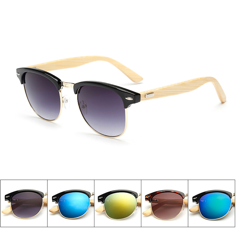 Factory Sell Fashion Men And Women Bamboo Feet Ppersonality Metal Half-frame Sun Glasses<br><br>Aliexpress