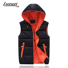 Mens Sleeveless Jacket Veste Homme Winter Fashion Casual Coats Male Hooded Cotton-Padded Men'S Vest Male Warm Waistcoat WS305