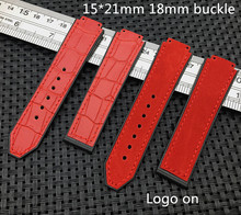 Red crazy Leather Warchband for Hublot female women rubber strap silicone watch accessories 15 x 21mm wrist belt band 18mm HUB(China)