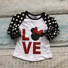 new baby girls restock three quarter cotton boutique cute top T-shirt raglans clothing ruffles polka dot love minnie mouse(China)
