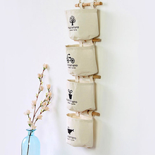 LASPERAL Linen/Cotton Fabric Wall Door Closet Hanging Storage Bag Case 4 Pockets  Organizer For Cosmetics Storage Containers