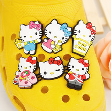 Free Shipping Novelty Style 1-8PCS PVC Garden Shoe Charm Decorations Hello Kitty Accessorie Shoe Buckle Fit Bands/Bracelets/Croc