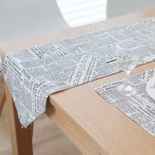 hot sale home decorative coffee table covers British style news paper printing linen and cotton teal table runners