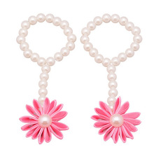 1pc Hair Band Baby Girls Barefoot Flower Pearl Foot Band Toe Ring Floral Wedding Sandals Socks Anklets Prop Headband Accessories