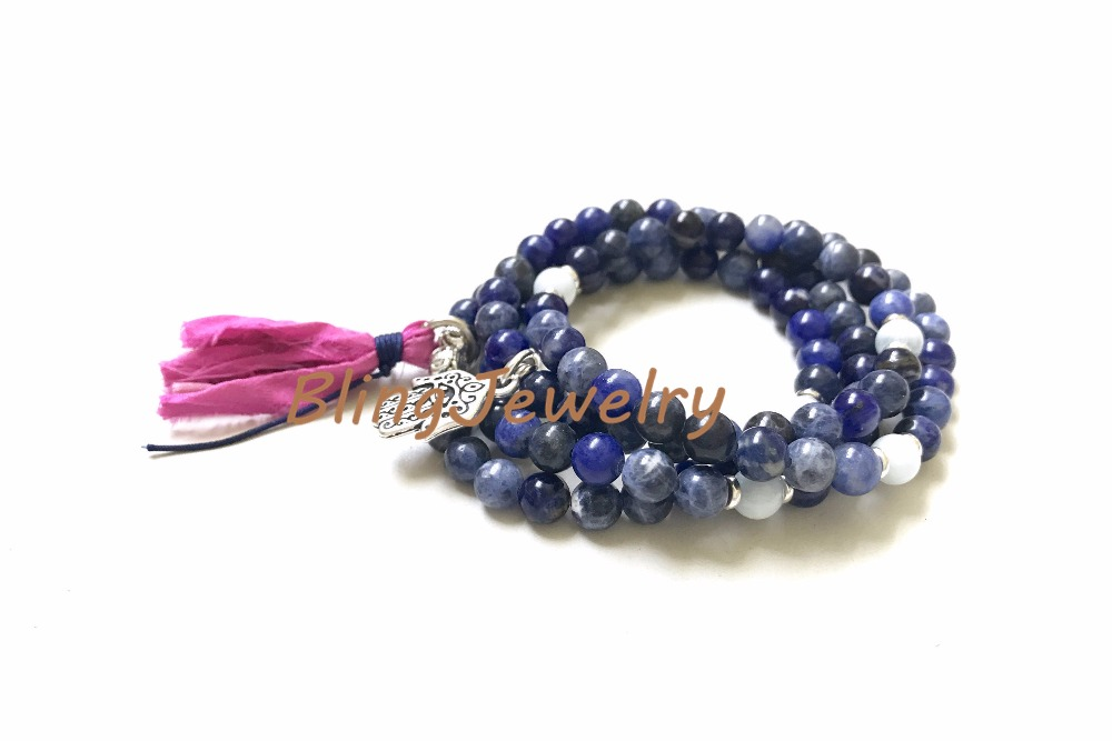 N17082543 Sodalite Mala Bead Wrap Bracelet, Mala Necklace For Self Acceptance, Aquamarine Mala, 108 Mala Bead On Stretch Cord, Sari Silk Tassel Mala6 (11)