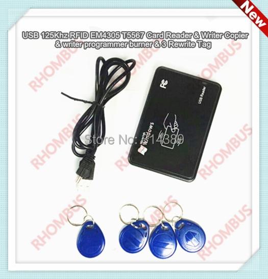 USB 125Khz RFID EM4305 T5567 Card Reader/Writer Copier/Writer programmer burner<br><br>Aliexpress