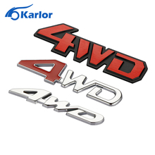 Car rear side Metal Decal 4wd 4x4 Emblem Sticker badge 3D Logo Chrome off-road car styling 4WD Red For SUV Trunk 12.5 x 3 cm