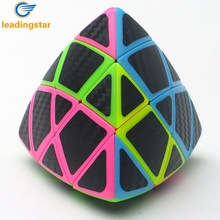 LeadingStar Multicolour 3x3 Magic Cube Carbon Fibre Pyramorphix with Stickers Professional Intelligence Development Toys zk10(China)