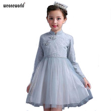 WEONEWORLD Autumn Chinese Style Lace Mesh Cheongsam Girls Dresses Long-sleeved Princess Dress Girl Cute Kids Clothes Costume