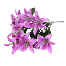 2016 New Hot Purple Bridal Wedding Floral Silk Flower Artificial Lilies Bouquet 10 Heads Home Decoration 1pc Free Shipping