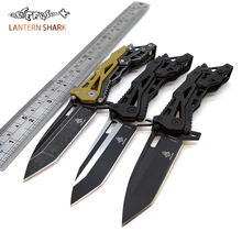 LANTERN SHARK Mechanical Folding Blade Knife Camping Stainless Stee Black Handle Tactical Survival Knife Gift Army Hunting Knife