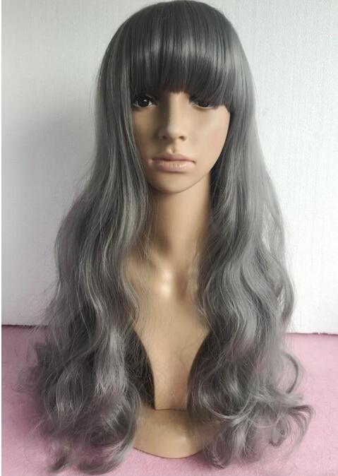 WIG n fashionable women smoke grey curly  Silver of cosine wig matte high temperature silk, 70 cm The spot sale<br><br>Aliexpress