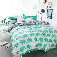 Preppy dogs green elephant combing 100% cotton linens bedding sets Twin/Double/Queen Size duvet cover+flat sheet+pillowcases