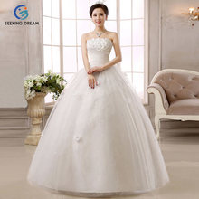 2017 New White/Ivory Strapless Ball Gown Sleeveless Cheap Wedding Dress Flowers Lace Up Bride Gowns Dresses Princess Customize(China)