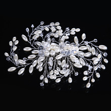 Gorgeous Crystal Beads Hair Comb Floral Headband Women Pearl Jewelry Hairband Hair Ornaments Bridal Tiara Wedding Accessories