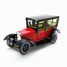 M805PAYA red taxi nostalgic theme antique decoration personality creative gift tin wind up car model toy wholesale(China)