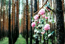 7x5FT Daylight Bokeh Sequins Forest Trunks Tree Pink Flowers Bottles Custom Photo Background Studio Backdrop Vinyl 220cm x 150cm