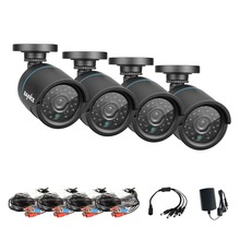 SANNCE 4PCS 1.0MP 720P TVI Security Cameras Indoor Outdoor IR Night Vision CCTV Surveillance Security Camera with BNC cable