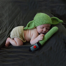Baby Shower Gift Famous Movie Star Wars Master Yoda Costume Outfit Knitted Baby Hat Cap Diaper with Green Lights Blade Set(China)