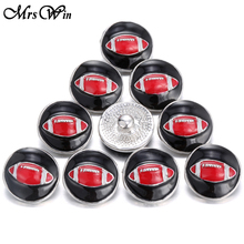 10pcs/lot Mrs Win Snap Jewelry Black Red Emenal America Football 18MM Snap Sports Buttons Jewelry fit snap bracelet women men(China)