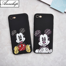 Luxury Brand Cartoon Stitch Mickey Minions coffee soft Case For iphone 5s SE 6 6s plus 7 8 Plus X phone cover Capa funda coque(China)