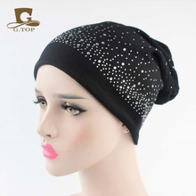 NEW rhinestone Chemo Baggy Hat cotton jersey Slouch Cap Bandana Hair Loss Bonnet Tube