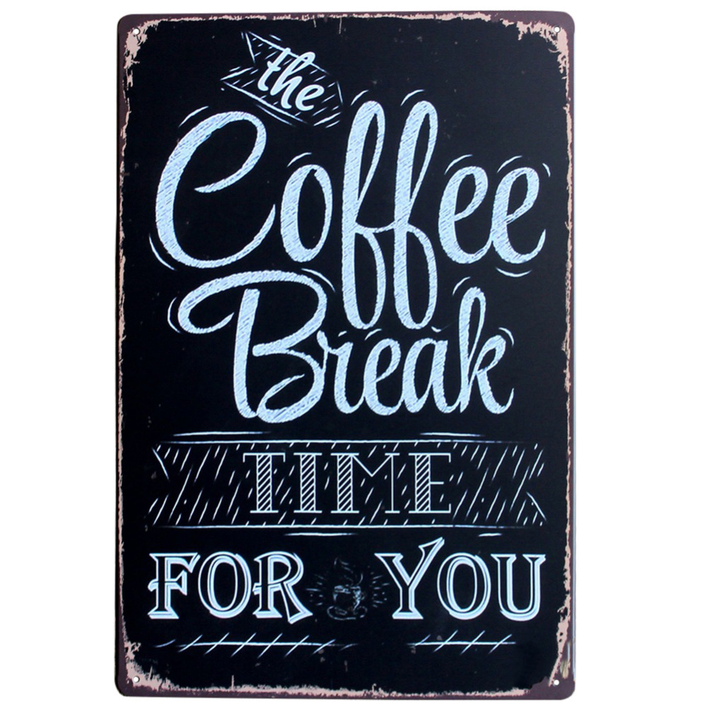 Wall Art Decor 20*30CM Coffee Theme Vintage Metal Sign Tin Poster Tavern Bar Coffee Pub Retro Cafe Bar Decoration Gallery Shop(China)