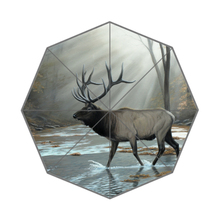 Forest Walking in the water Elk Custom Portable Folding Travel Design Rain and Sun Beach Umbrellas Hat Unique Parasol Umbrella